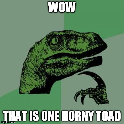 Philosoraptor Meme | WOW THAT IS ONE HORNY TOAD | image tagged in memes,philosoraptor | made w/ Imgflip meme maker