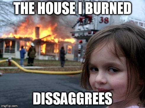 Disaster Girl Meme | THE HOUSE I BURNED DISSAGGREES | image tagged in memes,disaster girl | made w/ Imgflip meme maker