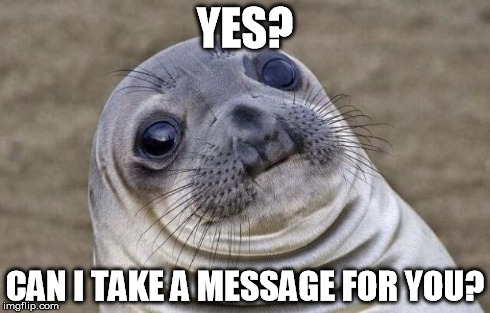 Awkward Moment Sealion Meme | YES? CAN I TAKE A MESSAGE FOR YOU? | image tagged in memes,awkward moment sealion | made w/ Imgflip meme maker