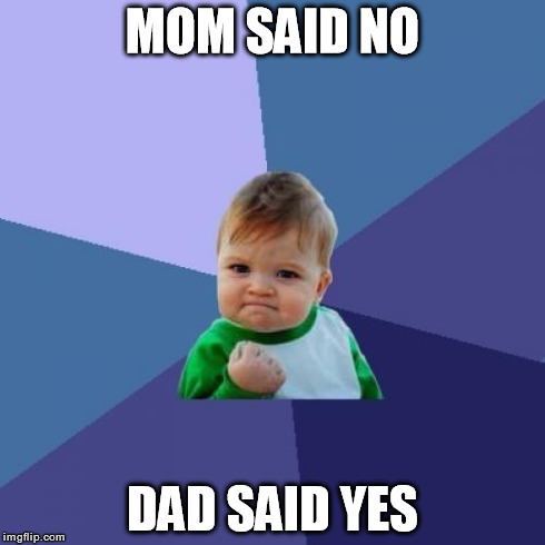 Success Kid Meme | MOM SAID NO DAD SAID YES | image tagged in memes,success kid | made w/ Imgflip meme maker