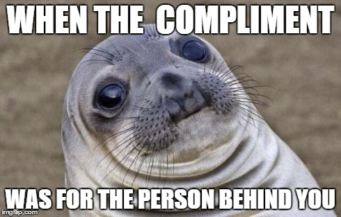 Awkward Moment Sealion Meme | WHEN THE  COMPLIMENT WAS FOR THE PERSON BEHIND YOU | image tagged in memes,awkward moment sealion | made w/ Imgflip meme maker