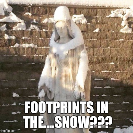 Footprints in the...Snow??? | FOOTPRINTS IN THE....SNOW??? | image tagged in mary,snow | made w/ Imgflip meme maker
