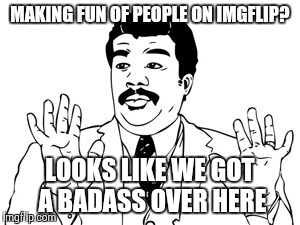 Neil deGrasse Tyson | MAKING FUN OF PEOPLE ON IMGFLIP? LOOKS LIKE WE GOT A BADASS OVER HERE | image tagged in memes,neil degrasse tyson | made w/ Imgflip meme maker