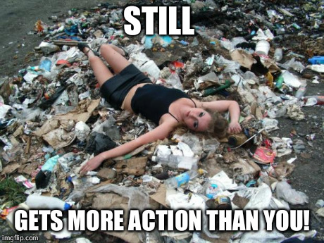 Trashy Woman | STILL GETS MORE ACTION THAN YOU! | image tagged in trashy women,blonde,model | made w/ Imgflip meme maker