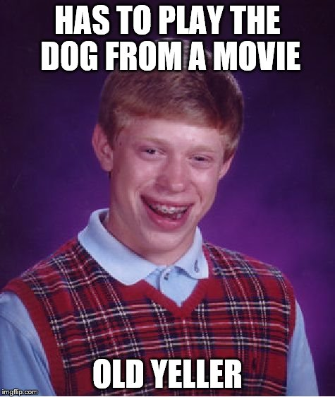 dog | HAS TO PLAY THE DOG FROM A MOVIE OLD YELLER | image tagged in memes,bad luck brian,dog,old yeller,movie | made w/ Imgflip meme maker
