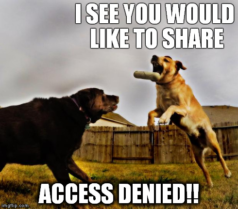 I SEE YOU WOULD LIKE TO SHARE ACCESS DENIED!! | image tagged in access denied dog,no sharing,dog memes,mean dogs,funny dogs | made w/ Imgflip meme maker