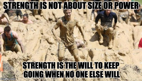 STRENGTH IS NOT ABOUT SIZE OR POWER STRENGTH IS THE WILL TO KEEP GOING WHEN NO ONE ELSE WILL | image tagged in strength | made w/ Imgflip meme maker