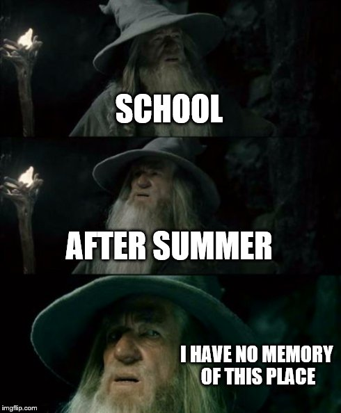 Confused Gandalf Meme | SCHOOL AFTER SUMMER I HAVE NO MEMORY OF THIS PLACE | image tagged in memes,confused gandalf | made w/ Imgflip meme maker