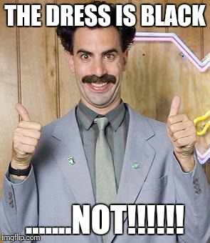 borat | THE DRESS IS BLACK .......NOT!!!!!! | image tagged in borat | made w/ Imgflip meme maker