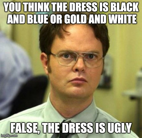 False | YOU THINK THE DRESS IS BLACK AND BLUE OR GOLD AND WHITE FALSE, THE DRESS IS UGLY | image tagged in false,memes | made w/ Imgflip meme maker