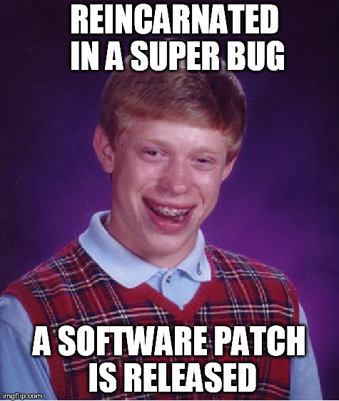 Bad Luck Brian Meme | REINCARNATED IN A SUPER BUG A SOFTWARE PATCH IS RELEASED | image tagged in memes,bad luck brian | made w/ Imgflip meme maker