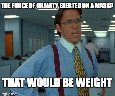 That Would Be Great Meme | THE FORCE OF GRAVITY EXERTED ON A MASS? THAT WOULD BE WEIGHT | image tagged in memes,that would be great | made w/ Imgflip meme maker