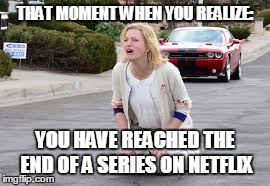 Binge Watching | THAT MOMENT WHEN YOU REALIZE: YOU HAVE REACHED THE END OF A SERIES ON NETFLIX | image tagged in netflix,streaming,binge watching | made w/ Imgflip meme maker