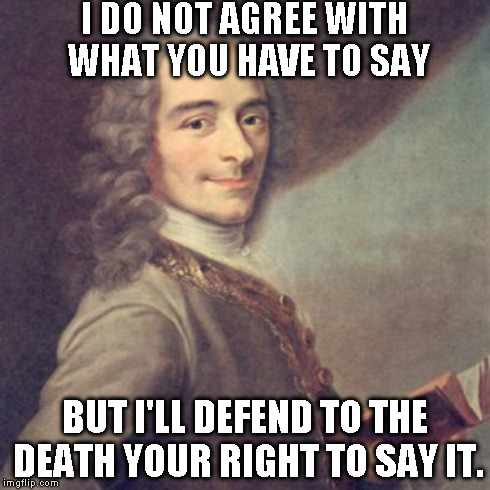 I DO NOT AGREE WITH WHAT YOU HAVE TO SAY BUT I'LL DEFEND TO THE DEATH YOUR RIGHT TO SAY IT. | made w/ Imgflip meme maker