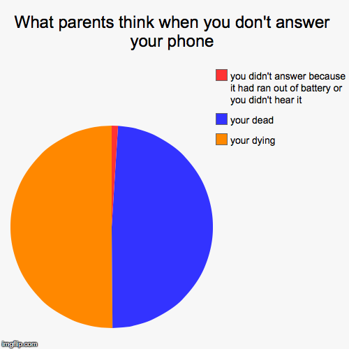 What parents think when you don't answer your phone | your dying, your dead, you didn't answer because it had ran out of battery or you didn | image tagged in funny,pie charts | made w/ Imgflip pie chart maker