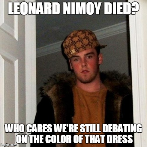 Scumbag Steve Meme | LEONARD NIMOY DIED? WHO CARES WE'RE STILL DEBATING ON THE COLOR OF THAT DRESS | image tagged in memes,scumbag steve | made w/ Imgflip meme maker