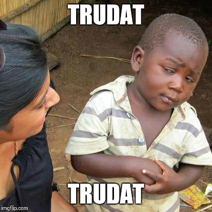 Third World Skeptical Kid Meme | TRUDAT TRUDAT | image tagged in memes,third world skeptical kid | made w/ Imgflip meme maker