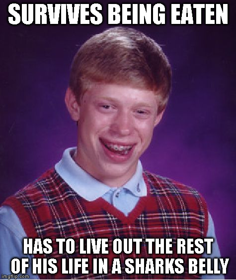 Bad Luck Brian Meme | SURVIVES BEING EATEN HAS TO LIVE OUT THE REST OF HIS LIFE IN A SHARKS BELLY | image tagged in memes,bad luck brian | made w/ Imgflip meme maker