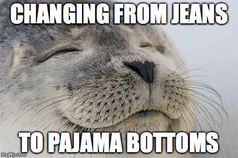 Satisfied Seal Meme | CHANGING FROM JEANS TO PAJAMA BOTTOMS | image tagged in memes,satisfied seal | made w/ Imgflip meme maker