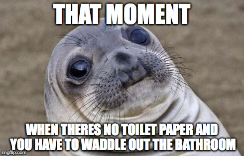 Awkward Moment Sealion Meme | THAT MOMENT WHEN THERES NO TOILET PAPER AND YOU HAVE TO WADDLE OUT THE BATHROOM | image tagged in memes,awkward moment sealion | made w/ Imgflip meme maker