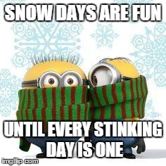 winter minions | SNOW DAYS ARE FUN UNTIL EVERY STINKING DAY IS ONE | image tagged in winter minions | made w/ Imgflip meme maker