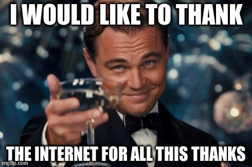 Leonardo Dicaprio Cheers Meme | I WOULD LIKE TO THANK THE INTERNET FOR ALL THIS THANKS | image tagged in memes,leonardo dicaprio cheers | made w/ Imgflip meme maker