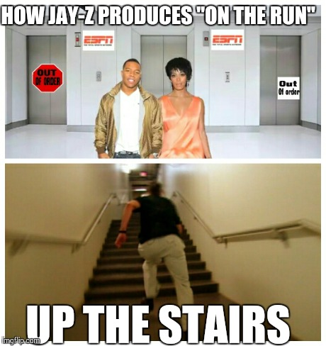 "Ray Rice and Solange - on the elevator | HOW JAY-Z PRODUCES ""ON THE RUN"" UP THE STAIRS 