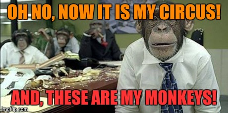 Office monkeys | OH NO, NOW IT IS MY CIRCUS! AND, THESE ARE MY MONKEYS! | image tagged in office monkeys | made w/ Imgflip meme maker
