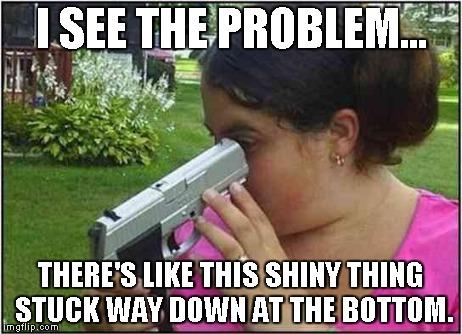 iiyxl woman looking down gun barrel meme generator imgflip