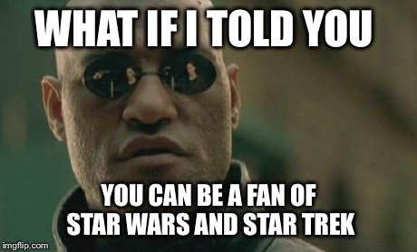 Matrix Morpheus Meme | WHAT IF I TOLD YOU YOU CAN BE A FAN OF STAR WARS AND STAR TREK | image tagged in memes,matrix morpheus | made w/ Imgflip meme maker