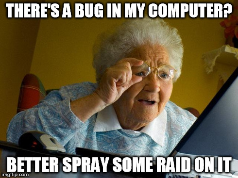Grandma Finds The Internet Meme | THERE'S A BUG IN MY COMPUTER? BETTER SPRAY SOME RAID ON IT | image tagged in memes,grandma finds the internet | made w/ Imgflip meme maker