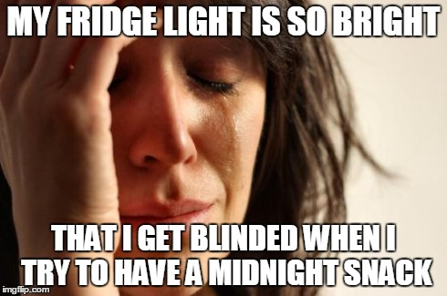 First World Problems | MY FRIDGE LIGHT IS SO BRIGHT THAT I GET BLINDED WHEN I TRY TO HAVE A MIDNIGHT SNACK | image tagged in memes,first world problems | made w/ Imgflip meme maker