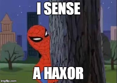 Spiderman Curious  | I SENSE A HAXOR | image tagged in spiderman curious  | made w/ Imgflip meme maker
