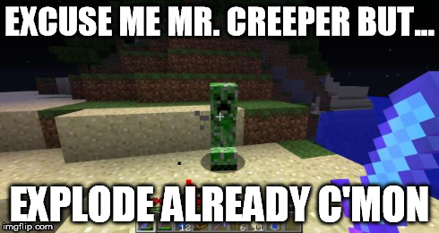EXCUSE ME MR. CREEPER BUT... EXPLODE ALREADY C'MON | image tagged in creeper,minecraft,impatience,explode,mr creeper | made w/ Imgflip meme maker