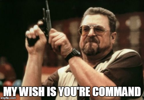 Am I The Only One Around Here Meme | MY WISH IS YOU'RE COMMAND | image tagged in memes,am i the only one around here | made w/ Imgflip meme maker