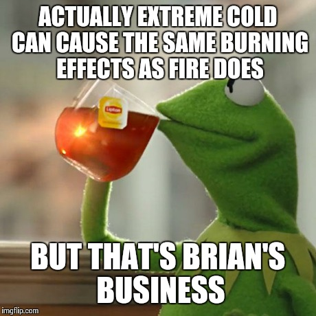 But Thats None Of My Business Meme | ACTUALLY EXTREME COLD CAN CAUSE THE SAME BURNING EFFECTS AS FIRE DOES BUT THAT'S BRIAN'S BUSINESS | image tagged in memes,but thats none of my business,kermit the frog | made w/ Imgflip meme maker