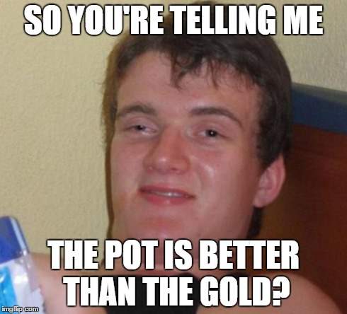 10 Guy Meme | SO YOU'RE TELLING ME THE POT IS BETTER THAN THE GOLD? | image tagged in memes,10 guy | made w/ Imgflip meme maker