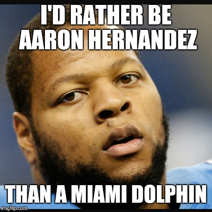 suh | I'D RATHER BE AARON HERNANDEZ THAN A MIAMI DOLPHIN | image tagged in dolphins | made w/ Imgflip meme maker