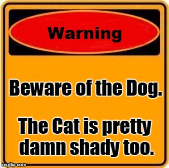 Beware | Beware of the Dog. The Cat is pretty damn shady too. | image tagged in memes,warning sign,cats,dogs,funny | made w/ Imgflip meme maker