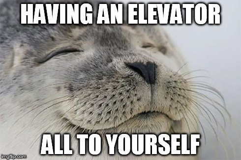 Satisfied Seal Meme | HAVING AN ELEVATOR ALL TO YOURSELF | image tagged in memes,satisfied seal,AdviceAnimals | made w/ Imgflip meme maker