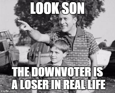 Look Son Meme | LOOK SON THE DOWNVOTER IS A LOSER IN REAL LIFE | image tagged in look son | made w/ Imgflip meme maker