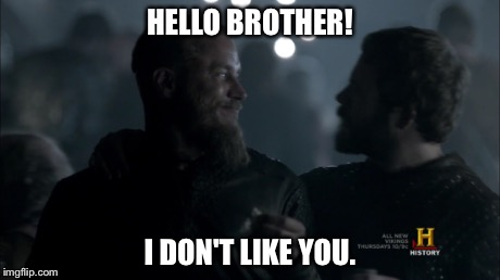 HELLO BROTHER! I DON'T LIKE YOU. | image tagged in vikings | made w/ Imgflip meme maker