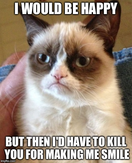 Grumpy Cat Meme | I WOULD BE HAPPY BUT THEN I'D HAVE TO KILL YOU FOR MAKING ME SMILE | image tagged in memes,grumpy cat | made w/ Imgflip meme maker