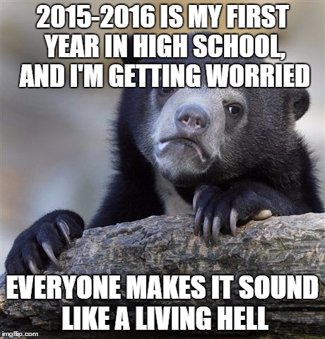 Confession Bear Meme | 2015-2016 IS MY FIRST YEAR IN HIGH SCHOOL, AND I'M GETTING WORRIED EVERYONE MAKES IT SOUND LIKE A LIVING HELL | image tagged in memes,confession bear | made w/ Imgflip meme maker