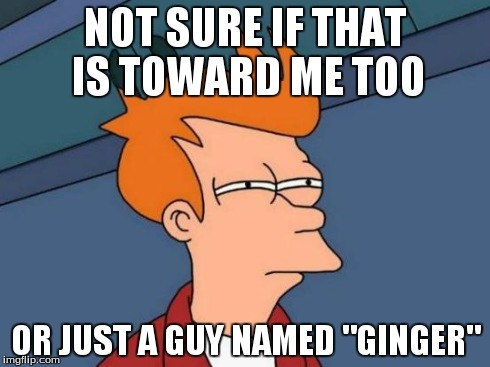 "Futurama Fry Meme | NOT SURE IF THAT IS TOWARD ME TOO OR JUST A GUY NAMED ""GINGER"" 