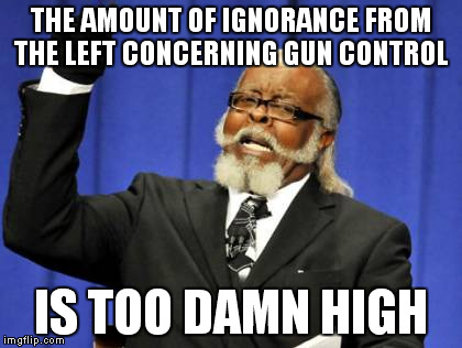 THE AMOUNT OF IGNORANCE FROM THE LEFT CONCERNING GUN CONTROL IS TOO DAMN HIGH | image tagged in memes,too damn high | made w/ Imgflip meme maker