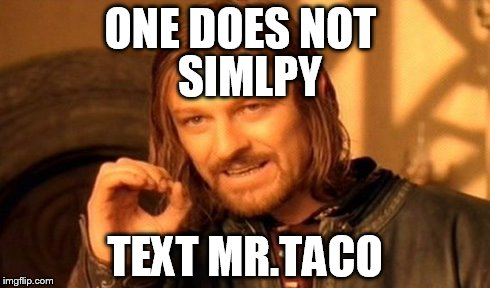 One Does Not Simply Meme | ONE DOES NOT TEXT MR.TACO SIMLPY | image tagged in memes,one does not simply | made w/ Imgflip meme maker