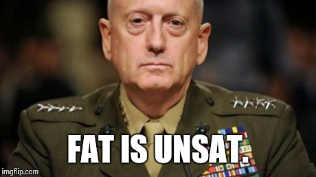 FAT IS UNSAT. | image tagged in general mattis is not impressed | made w/ Imgflip meme maker