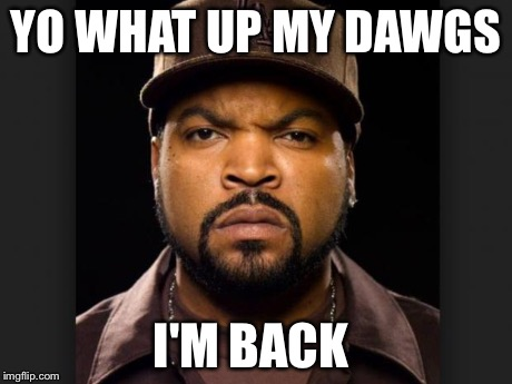 YO WHAT UP MY DAWGS I'M BACK | image tagged in icecube | made w/ Imgflip meme maker