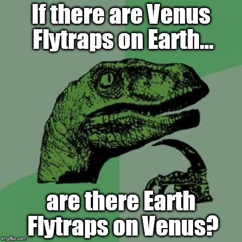 Philosoraptor Meme | If there are Venus Flytraps on Earth... are there Earth Flytraps on Venus? | image tagged in memes,philosoraptor | made w/ Imgflip meme maker